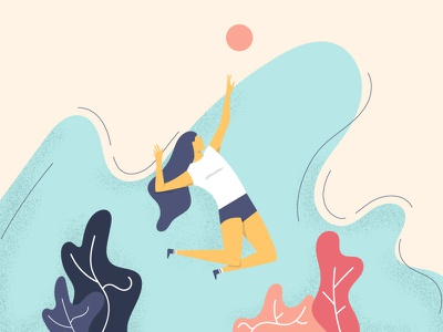 Serve... color design volleyball sport training characters illustration