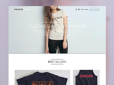 Printed Onion web site clothes design web site web design ui minimal clothing