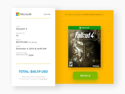 Daily UI - Day 17: Email Receipt free sketch challenge minimal microsoft 017 fallout receipt email ui daily dailyui