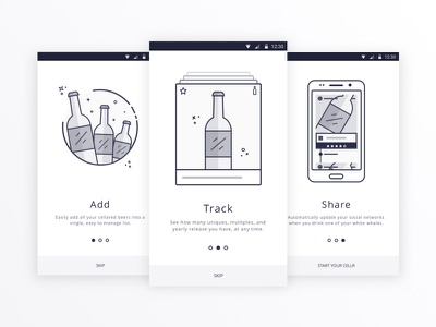 Drink up! icon apps app free sketch ui android beer mobile flow on board onboarding