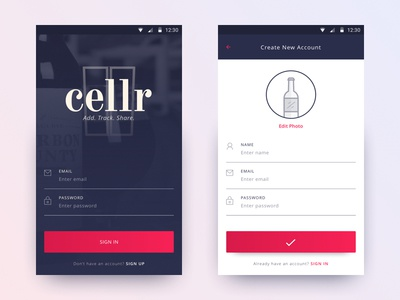 Cellr Landing beer in sign landing sign in ui minimal mobile ios android app