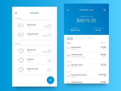 Account Info mobile ux ui ios android fintech finance banking balance account bank app