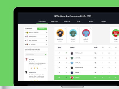 Scorecast - Ranking chat jersey data interface ux ui winners dashboard football rankings ranking soccer