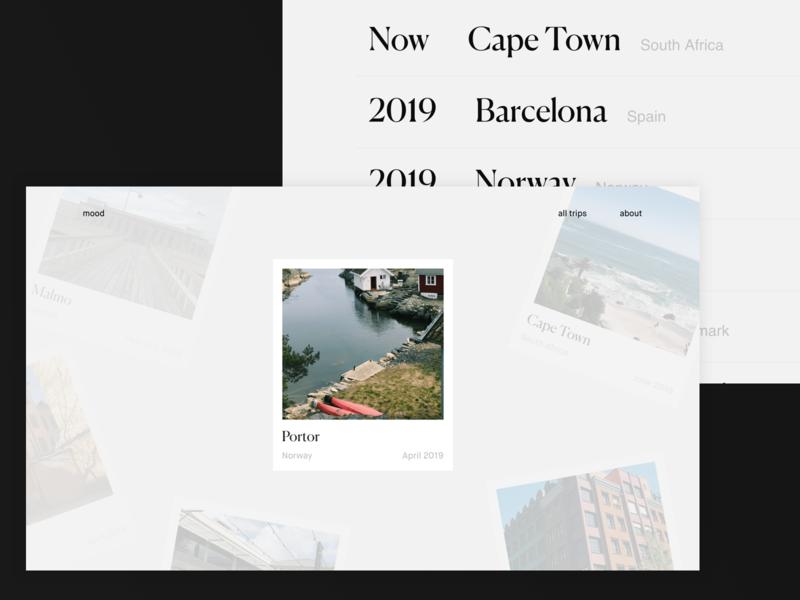 Travel Mood - Concept #1 trip typography polaroid photos trips traveler travel concept ui ux interface