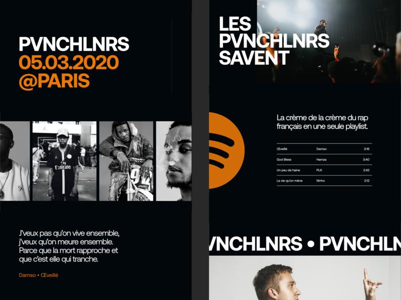 Pvnchlnrs - Webflow Exploration spotify playlist music rap french pvnchlnrs animation ui webflow