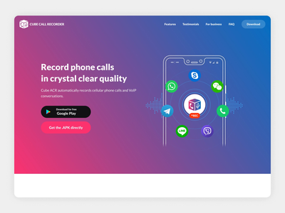 Cube Call Recorder gradient lineart light simple ui vector design branding recorder call animation prototype illustration mobile desktop website landing