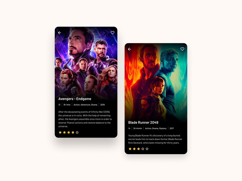 Movie Cards - Daily UI favorite android iphone movie application design application design ux web daily ui app ui
