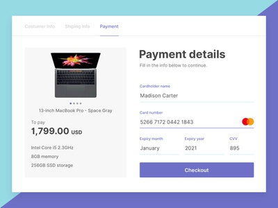 Credit Card Checkout - Daily UI #002 shop checkout web ux icon app daily ui ui