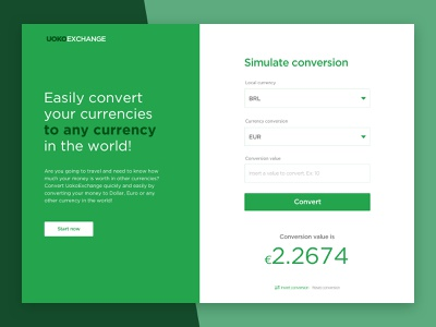 Uoko Exchange - Currency converter ui app web design ux exchange currency system green white green app logo icon