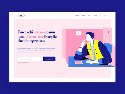 Falling in love - Above The fold - Daily UI #003 logo typography subscribe lead page lead simple vector illustration ux web daily ui app ui