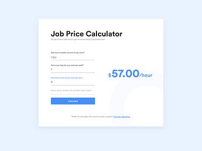 Job Price Calculator - Daily UI #004 price calculate calculator ui job app calculator job vector design ux web app daily ui ui