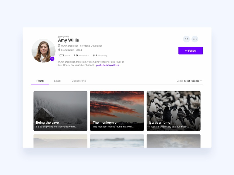 Profile - Daily UI #006 followers posts person profile ux web app daily ui ui