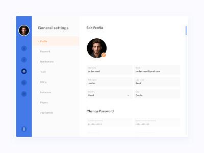 Dailyui007 Profile website profile design settings page settings settings ui profile flat design web ux daily ui app ui