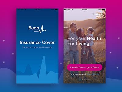 Bupa Insurance gradient clean flat design ios iphone blue pink login splash screen mobile