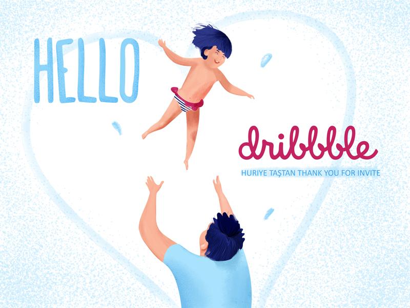 Hello Dribbble! happy little girl girl hello design illustrator hello dribbble дизайн иллюстрация