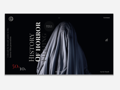 Horror filming history website horror movies films ux ui design minimalism web  design