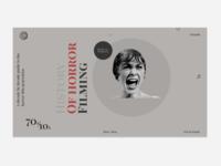 Concept of horror filming history website web history ux ui minimalism horror movies design films web  design
