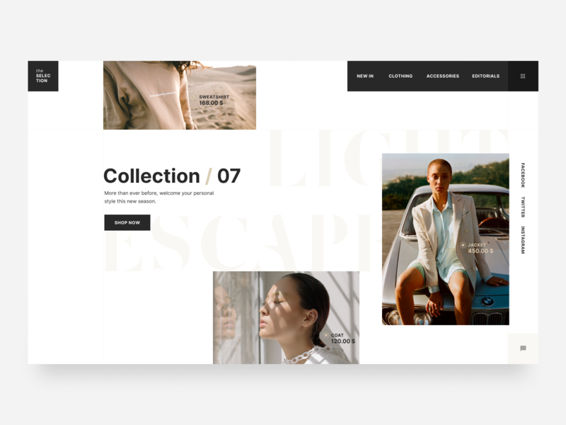 the SELECTION minimalism element web  design fashion