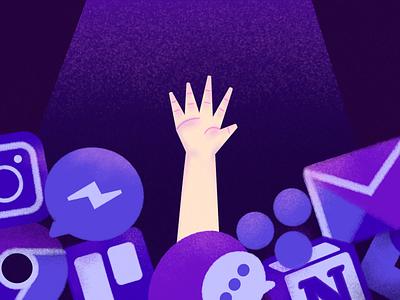 How to Deal with Communication Overload | Illustration messanger instagram email gmail slack overload communication shadow nude purple pink major blog web digital dribbble brushes affinitydesigner affinity illustration