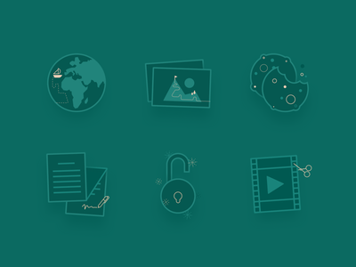 Illustrated icons earth lock privacy image placeholder video cookies flat illustrator design illustration vector branding ui icon