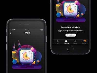 Philips Hue - Setting a timer philips hue hue lighting light timing timer illustrator branding bulb vector illustration