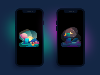Philips Hue - Wake up and go to sleep mobile philips daylight sun grain vector color design gradients tree rooster owl camping moonlight illustrator hue illustration