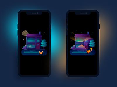 Philips Hue - Routines neighbourhood tree uidesign house burglar cat night goldfish branding ui mobile illustration