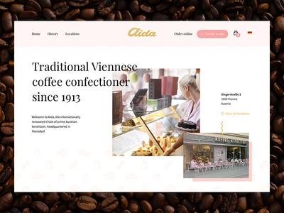 Aida – UI Concept food cake austria vienna dandy classic pink scroll restaurant confectioner cafe coffee
