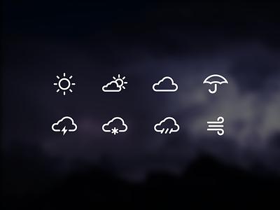 Weather icon set thunder snow rain wind umbrella cloud sun outline icon icons weather