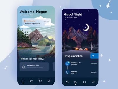Meditation App UI mobile bedtime programmation sleep meditation night ux vector ui app design
