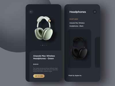 Headphones store app mobile design best design app design ui ux gadget electronic shopping dark ui headphones store app
