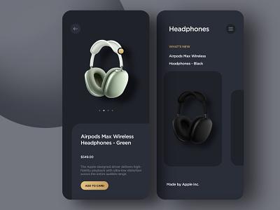 Headphones store app mobile design best design app design ui ux gadget electronic shopping dark ui headphones store app