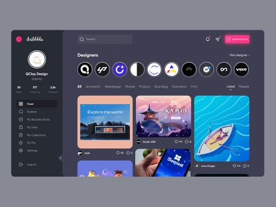 Dribbble Dark UI Concept gallery feed dashboard bestdesign dribbble dark mode night ux ui application app design dark ui sidebar webapps webapp web dark theme dark concept
