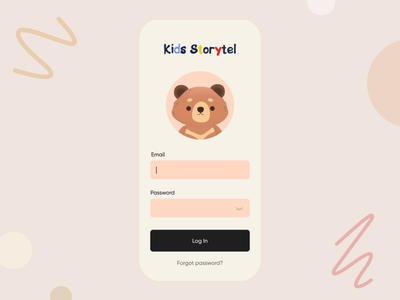 Childcare App interface animated clean teen family baby ux ui children mobile animation form login form login app story kids child bear teddy