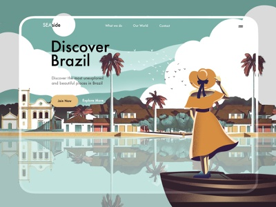 Brazil Tourism Website Illustration illustrator vector design ux ui discover adventure travel agency traveling landing page landingpage landing trip tourism travel illustration