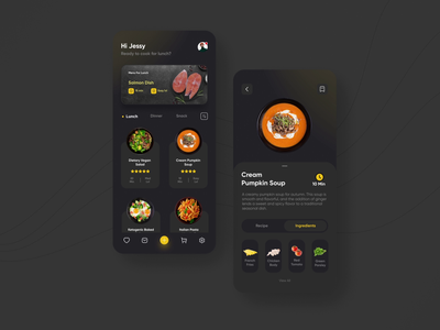 Custom Cooking Recipe App night cart motion transition animation application ux ui app design app cooking cook recipe drink food