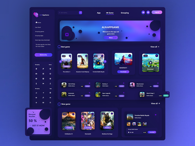 👾Game Store Design discount appstore apps game games store trend uikit banner sidebar web web design ui ux night application app website