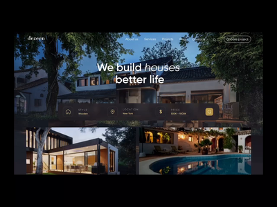 Real Estate Landing Page interaction app design application landing page landing tranding qclay development investment real estate realtor house houses motion best design motion graphics animation