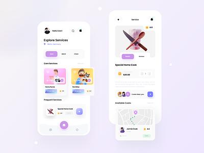 Services App ux footer tapbar illustration 3d qclay tranding mobile design application app design app offer service