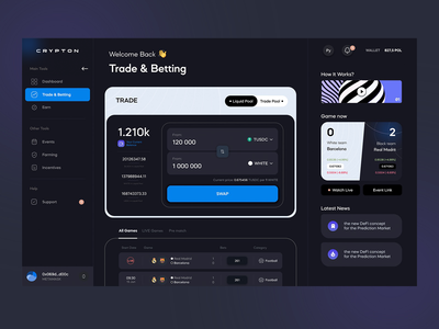 Crypto Dashboard #2 swap administration dash analytics dark ui admin bets betting bet exchange interface panel dashboard