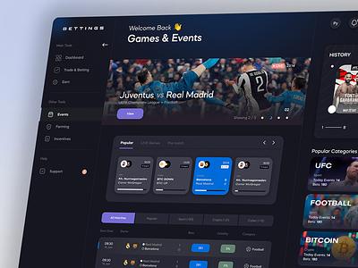 Dark Dashboard dashboard design bets football match dark banner list sidebar qclay gambling game betting bet app design application app panel admin dash dashboard