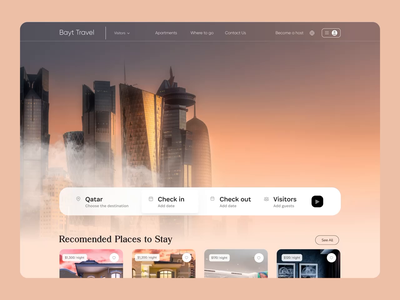 Travel Landing Page booking discovery qatar tourists qclay web ui motion animate scroll trend interaction tour web page landing animation app design trip journey travel
