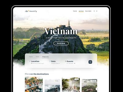Travel Web UI Exploration promo page corporate agency figma uiux country vietnam qclay web design avia tourism designer ui webdesign landing discover travel trip