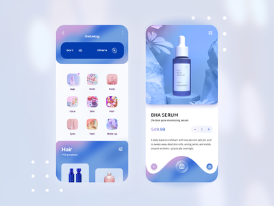 Beauty App Design shopping app best design design glass product catalog ecommerce fashion skin care skin cosmetics femine medical app beauty qclay application app design