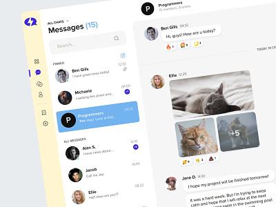 Messenger Dashboard uiux design platform discourse teams slack telegram minimalistic clear forum community talk group channels message chat messenger dashboard