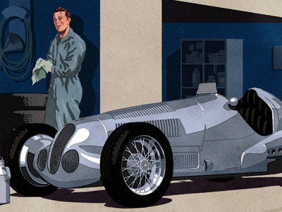 Mercedes Benz Motor Oil painting analog-digital 2d 3d