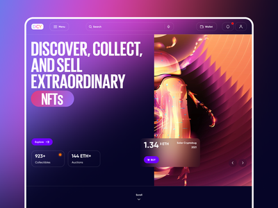 NFT Marketplace crypto web marketplace gradient crypto currency crypto exchange auction startup concept ux ui auction app crypto cryptocurrency nft app bitcoin ethereum cryptoart token nft web design