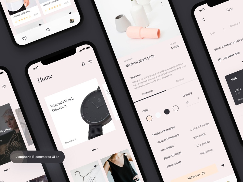 L'euphorie E-commerce UI Kit Freebie 🛍 e-commerce payment method payment ecommerce shop shop app ecommerce app ecommence free app freebie shop network ux sketch minimalism minimal mobile application ui mobile ios app