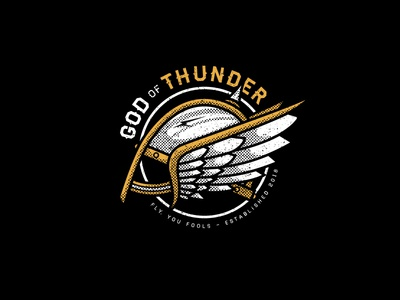 God of Thunder design for sale art graphic design thor viking helmet god of thunder black gold