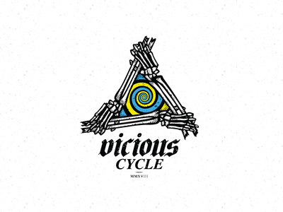 Vicious Cycle vicious cycle black letter spiral skeleton white black graphic design art design for sale